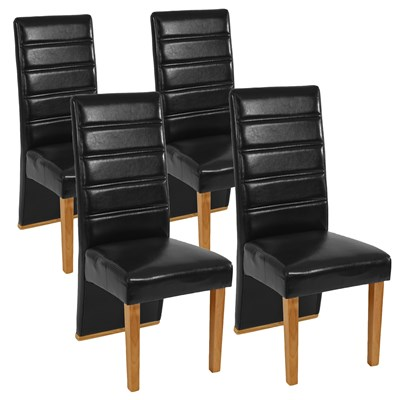 Lote de 4 Sillas de Comedor NERON, Piel Negra y Patas Claras, Diseño Exclusivo y Único