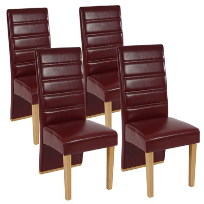 Lote de 4 Sillas de Comedor NERON, Piel Roja y Patas Claras, Diseño Exclusivo y Único