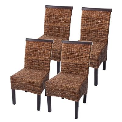 Lote 4 Sillas de comedor o Jardín M45 en madera mimbre marrón y patas oscuras