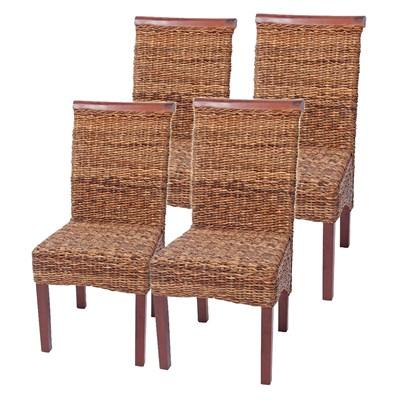 Lote 4 Sillas de comedor o Jardín M45 en madera mimbre marrón y patas madera
