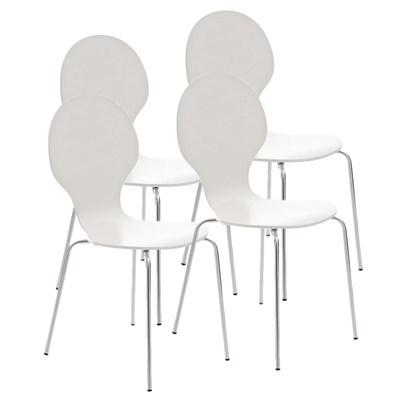 Lote 4 Sillas de Cocina o Comedor CARLO, ergonómicas, en madera y metal, modelo apilable, en Blanco