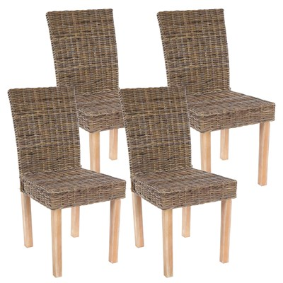 Lote 4 Sillas de Comedor LUCA, En Poly Rattan, Color Gris natural