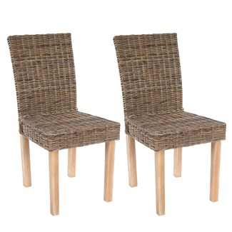 Lote 2 Sillas de Comedor LUCA, En Poly Rattan, Color Gris natural