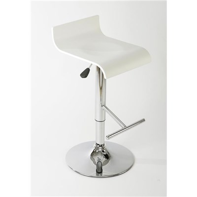 Taburete de Diseño MARIO, altura ajustable, estructura metalica, asiento en madera color blanco