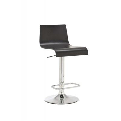 Taburete de Diseño JORGE, altura ajustable, estructura metal cromado, asiento en madera color negro