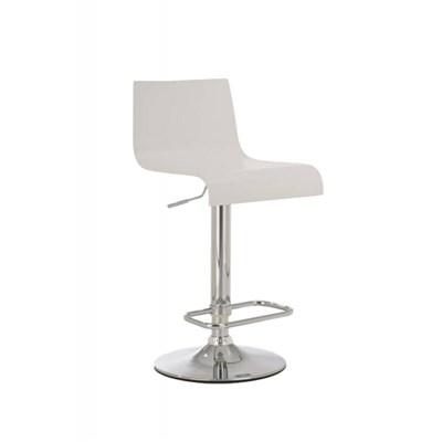 Taburete de Diseño JORGE, altura ajustable, estructura metal cromado, asiento en madera color blanco
