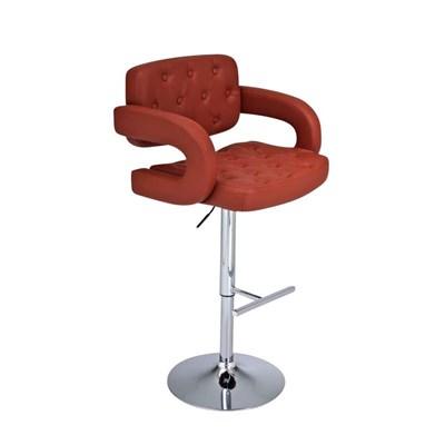 Taburete de Diseño ALEIX, altura ajustable, giratorio 360º, tapizado en piel con incrustaciones, color coñac