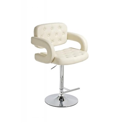 Taburete de Diseño ALEIX, altura ajustable, giratorio 360º, tapizado en piel con incrustaciones, color crema