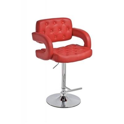 Taburete de Diseño ALEIX, altura ajustable, giratorio 360º, tapizado en piel con incrustaciones, color rojo