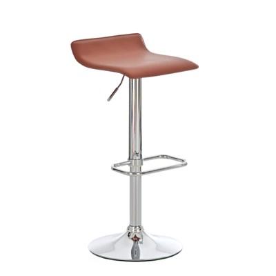 Taburete de Diseño IZAN, estructura metálica cromada, ajustable en altura, en piel color coñac