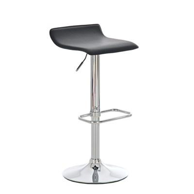 Taburete de Diseño IZAN, estructura metálica cromada, ajustable en altura, en piel color negro