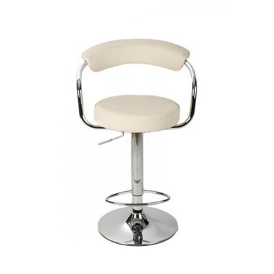 Taburete de Cocina EDU, altura ajustable, asiento y respaldo acolchados, en piel crema