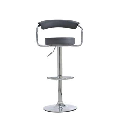 Taburete de Cocina EDU, altura ajustable, asiento y respaldo acolchados, en piel gris