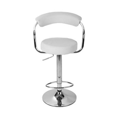 Taburete de Cocina EDU, altura ajustable, asiento y respaldo acolchados, en piel blanco