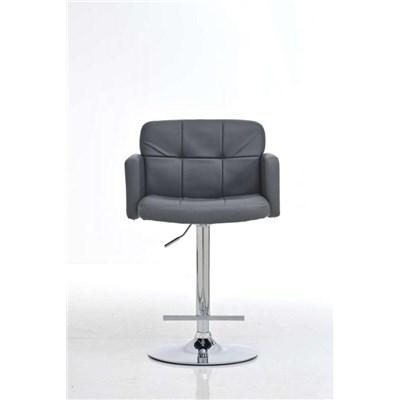 Taburete de Diseño PAU, altura ajustable, ámplio respaldo y reposabrazos, en piel gris