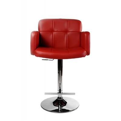 Taburete de Diseño PAU, altura ajustable, ámplio respaldo y reposabrazos, en piel rojo