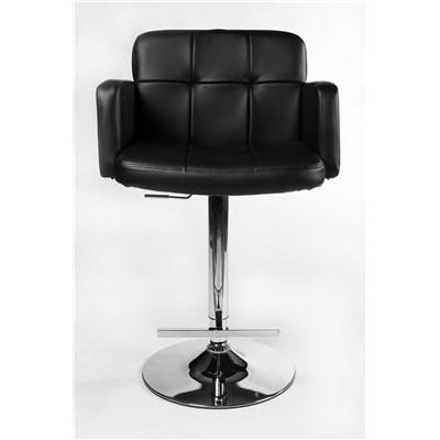 Taburete de Diseño PAU, altura ajustable, ámplio respaldo y reposabrazos, en piel negra