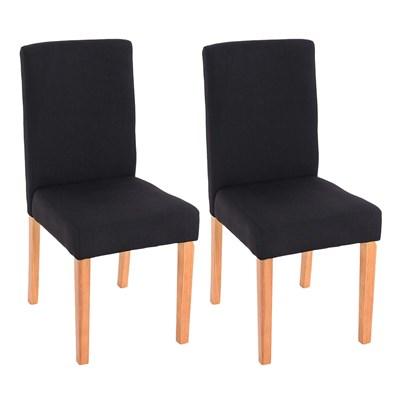 Lote 2 Sillas de Comedor LITAU TELA, precioso diseño en tela negra y patas claras