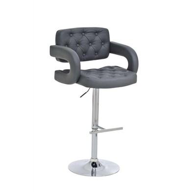 Taburete de Diseño ALEIX, altura ajustable, giratorio 360º, tapizado en piel con incrustaciones, color gris