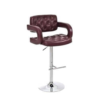 Taburete de Diseño ALEIX, altura ajustable, giratorio 360º, tapizado en piel con incrustaciones, color burdeos