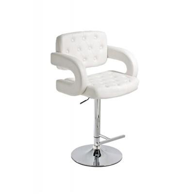 Taburete de Diseño ALEIX, altura ajustable, giratorio 360º, tapizado en piel con incrustaciones, color blanco