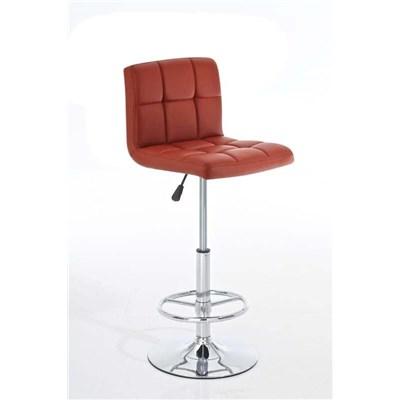 Taburete de Bar o Cocina ADRIA, altura ajustable, giratorio 360º, tapizado en piel color Burdeos