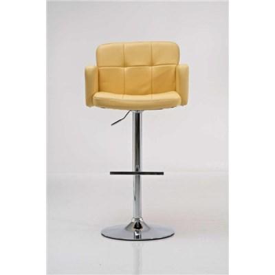 Taburete de Diseño PAU, altura ajustable, ámplio respaldo y reposabrazos, en piel amarillo