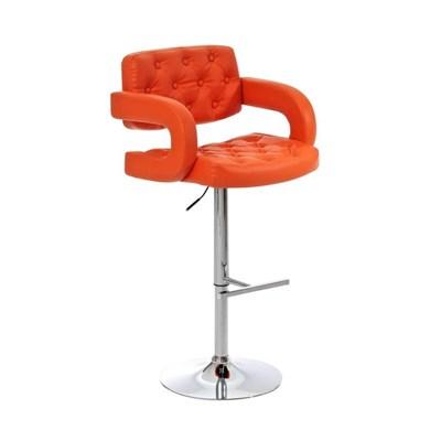 Taburete de Diseño ALEIX, altura ajustable, giratorio 360º, tapizado en piel con incrustaciones, color naranja