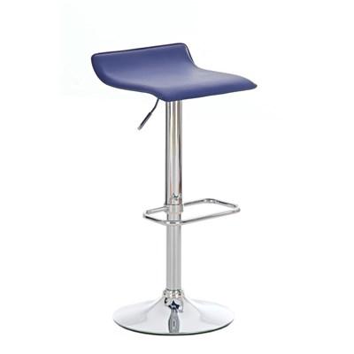 Taburete de Diseño IZAN, estructura metálica cromada, ajustable en altura, en piel color Azul