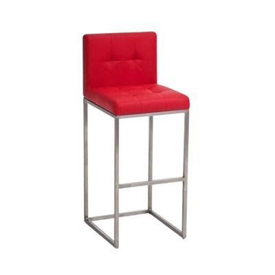 Taburete de Bar INES PRO, estructura en acero, asiento y respaldo acolchados, tapizado en piel rojo