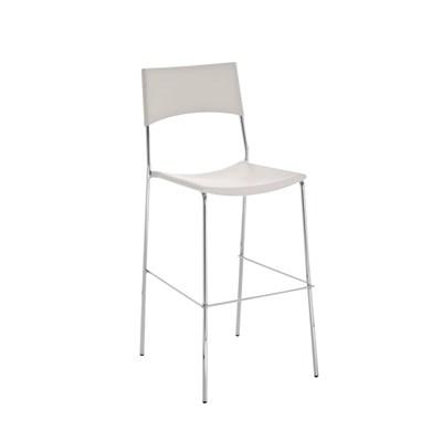 Taburete de Diseño NADIA, Color Blanco y Estructura de Metal Cromado, Apilable