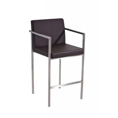 Taburete de Bar ATLANTICO, en acero inoxidable, asiento y respaldo acolchados, en piel color marrón