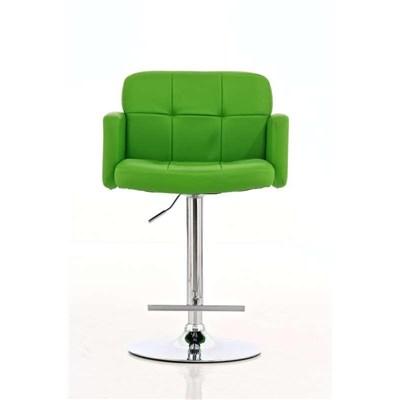 Taburete de Diseño PAU, altura ajustable, ámplio respaldo y reposabrazos, en piel verde
