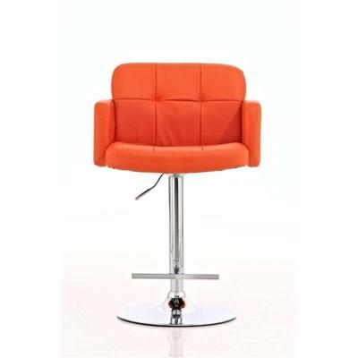 Taburete de Diseño PAU, altura ajustable, ámplio respaldo y reposabrazos, en piel naranja