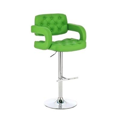 Taburete de Diseño ALEIX, altura ajustable, giratorio 360º, tapizado en piel con incrustaciones, color verde