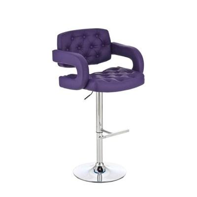 Taburete de Diseño ALEIX, altura ajustable, giratorio 360º, tapizado en piel con incrustaciones, color morado