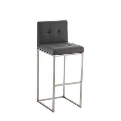Taburete de Bar INES PRO, estructura en acero, asiento y respaldo acolchados, tapizado en piel gris