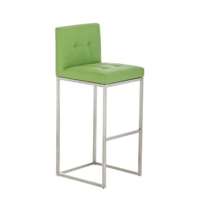 Taburete de Bar INES PRO, estructura en acero, asiento y respaldo acolchados, tapizado en piel verde