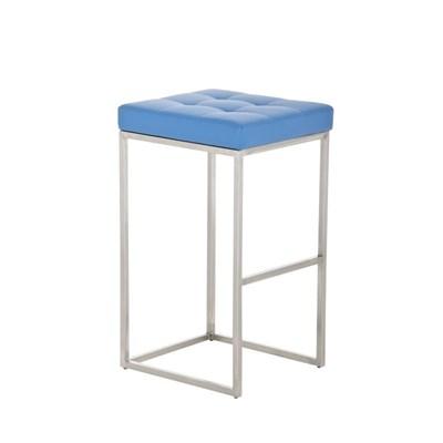 Taburete de Cocina o Bar ELSA PLUS, estructura en acero, asiento acolchado en piel color azul