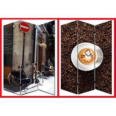 Biombo separador M68, dimensiones 180x120cm, decorado ambas caras, diseño café/calle