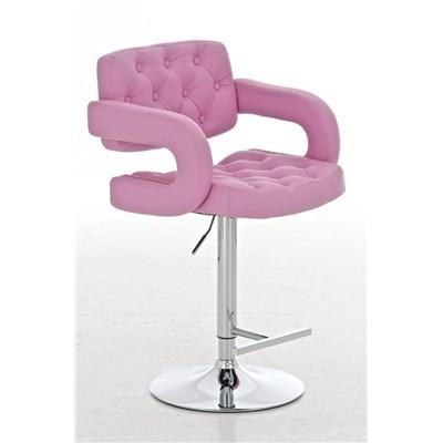 Taburete de Diseño ALEIX, altura ajustable, giratorio 360º, tapizado en piel con incrustaciones, color rosa