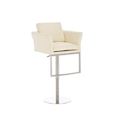 Taburete de Diseño NOA en acero, gran acolchado, ámplio asiento y respaldo, piel color crema