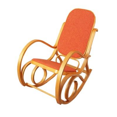 Mecedora Silla de madera M41, estructura en color roble y tapizado en tela naranja