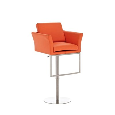 Taburete de Diseño NOA en acero, gran acolchado, ámplio asiento y respaldo, piel color naranja