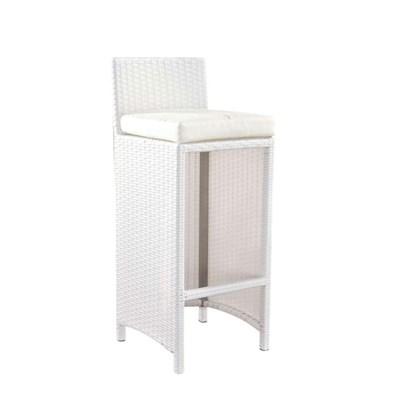 Taburete para Jardín o Terraza LINUX, En Poly Rattan Color Blanco y Estructura de Aluminio