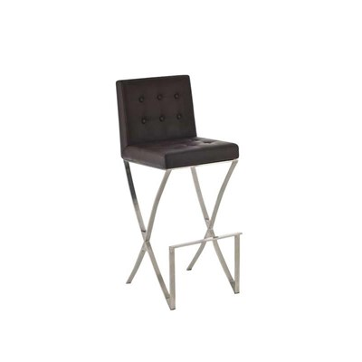 Taburete de Bar BRUNO, en acero inoxidable, asiento y respaldo acolchados, en piel color marrón