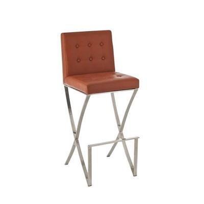 Taburete de Bar BRUNO, en acero inoxidable, asiento y respaldo acolchados, en piel color marrón claro