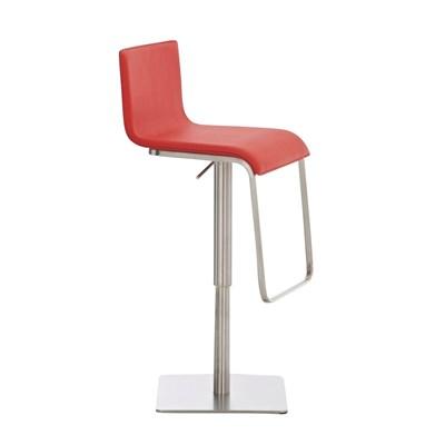 Taburete para Bar o Cocina EVA, estructura en acero, exclusivo diseño, altura ajustable, en piel rojo
