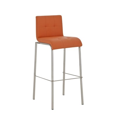 Taburete de Cocina o Bar MARTINA PRO, estructura en acero, acolchado tapizado en piel naranja