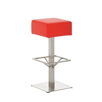Taburete de Bar MARK 76 PIEL, en acero inoxidable, altura asiento 76cm, tapizado en piel rojo